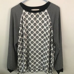 LOFT black and white printed blouse